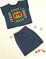 Детский трикотажный комплект на девочку 7-10 лет, джинсовый синий