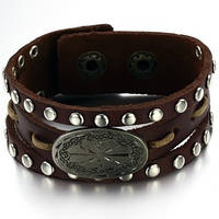 Кожаный браслет с заклепками, фото 1