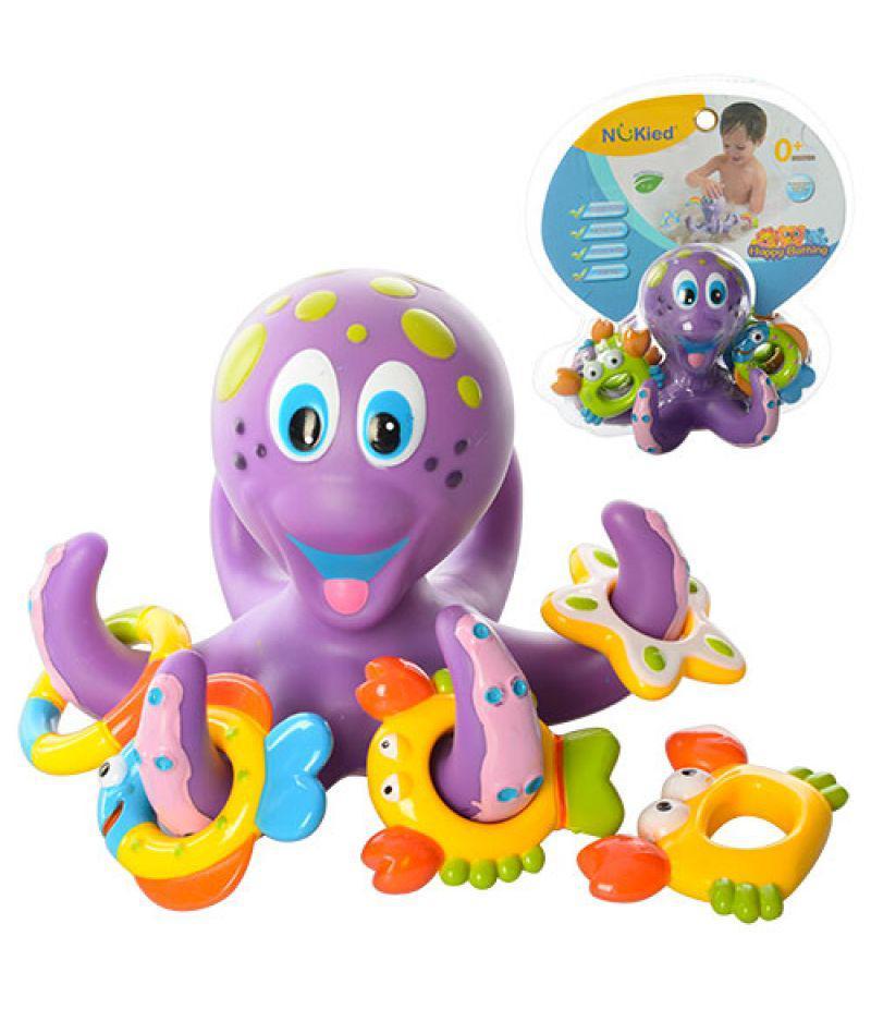 Гра HS6301 для купання, восьминіг, кільця-фігурки 5 шт., 2 кольори, в блістері, 21-23-15 см