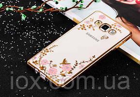 Золотистый силиконовый чехол с цветочным узором и камушками Swarovski для Samsung Galaxy J710 2016