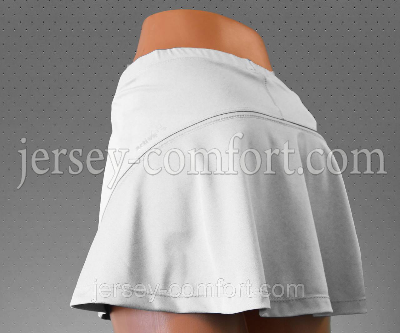 Юбка шорты, белая.Юбка для тенниса.Юбка спортивная.Мод. 4039.