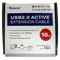 Кабель Viewcon для принтера активный VV013 USB2.0 -  10,0м AM/AF,черный