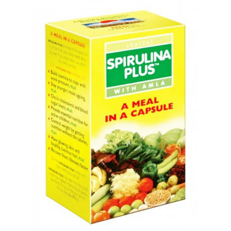 Спирулина Плюс с Амлой, Spirulina Plus with amla Goodcare Pharma, 60 капсул, фото 2