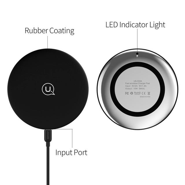 Беспроводная зарядка Usams round Wireless Fast Charging 10W Pad US-CD24