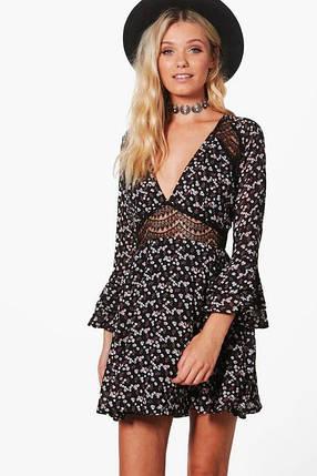 Платье с кружевом и красивыми рукавами Boohoo, фото 2