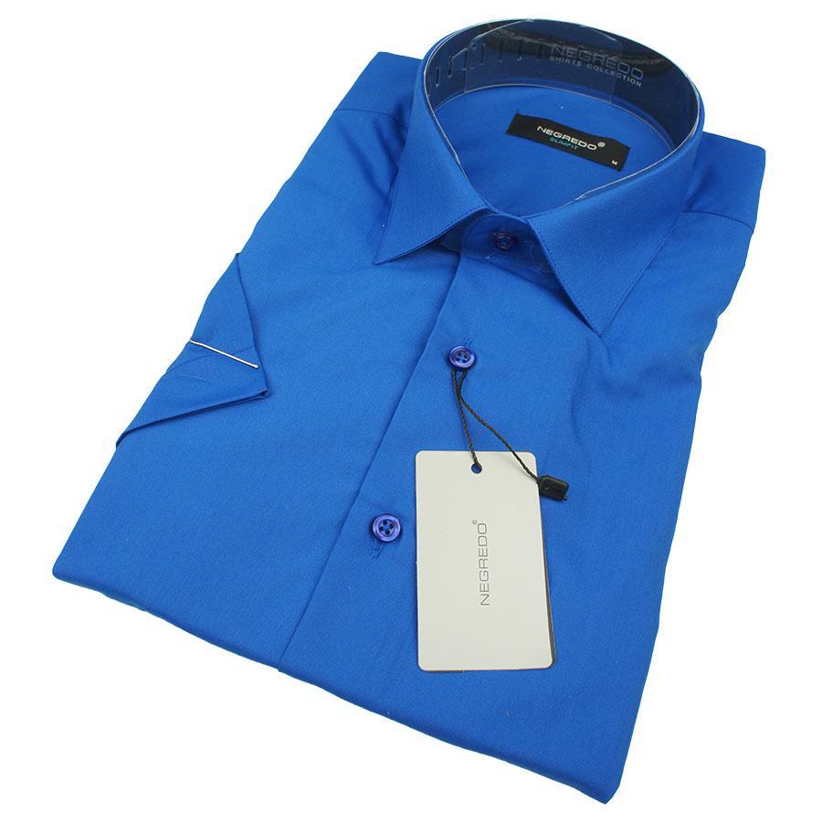 Приталенная мужская рубашка Negredo 30272 Slim в ярком синем цвете