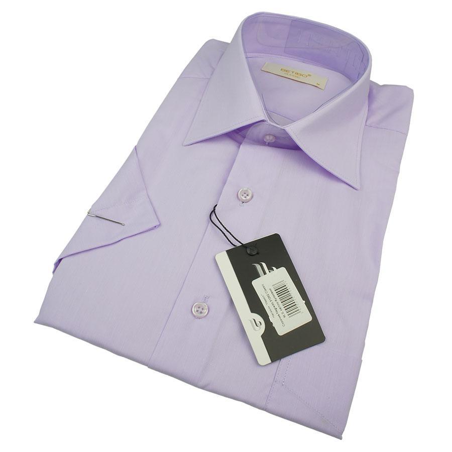 Мужская классическая рубашка Negredo 31082 Classic сиреневого цвета короткий рукав