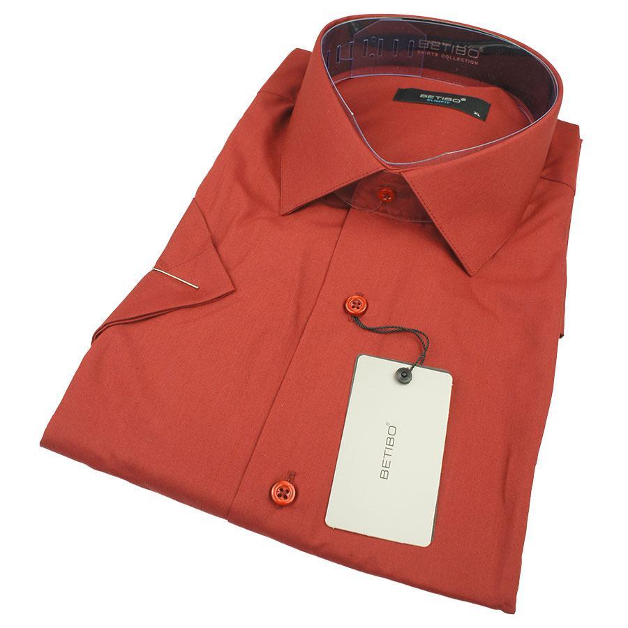 Стильная мужская приталенная рубашка Negredo 26039 Slim бордового цвета к/р