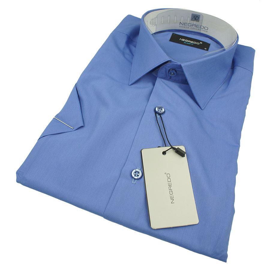 Мужская приталенная рубашка Negredo 30050 Slim в синем цвете (короткий рукав)