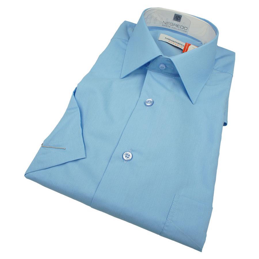 Мужская синяя классическая рубашка Negredo 30158 Classic короткий рукав