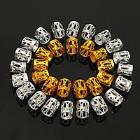 100Pcs 8mm Dreadlock Плетение из бисера Braid Манжеты Трубы Волосы Клипы Смешанные золотые серебряные дреды