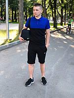 Шорты + футболка поло + Подарок/ мужской летний комплект черный + синий
