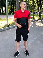 Шорты + футболка поло + Подарок/ мужской летний комплект черный + красный