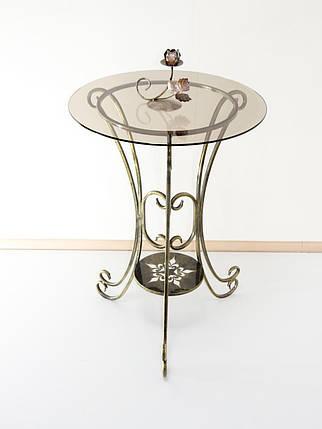 Стол кованый с круглой стеклянной столешницей С04б, фото 2