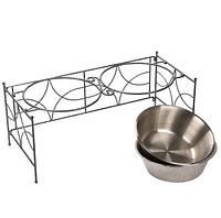 Чаша для домашних животных из нержавеющей стали для пищевых продуктов и водных чаш Кормушки для домашних животных с двойными чашами SML Раз
