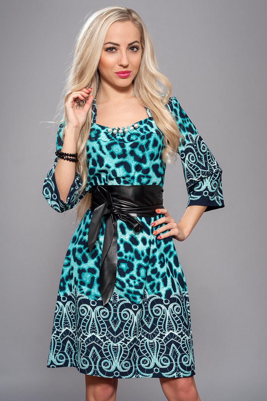 Платье женское мод 618-6,размер 52 бирюза