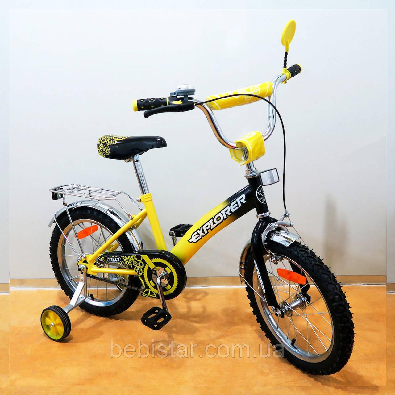 """Детский двухколесный велосипед TILLY 16"""" Т-21618 для деток 4-6 лет, желтый"""