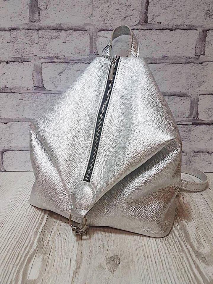 Рюкзак женский натуральная кожа серебро 1769