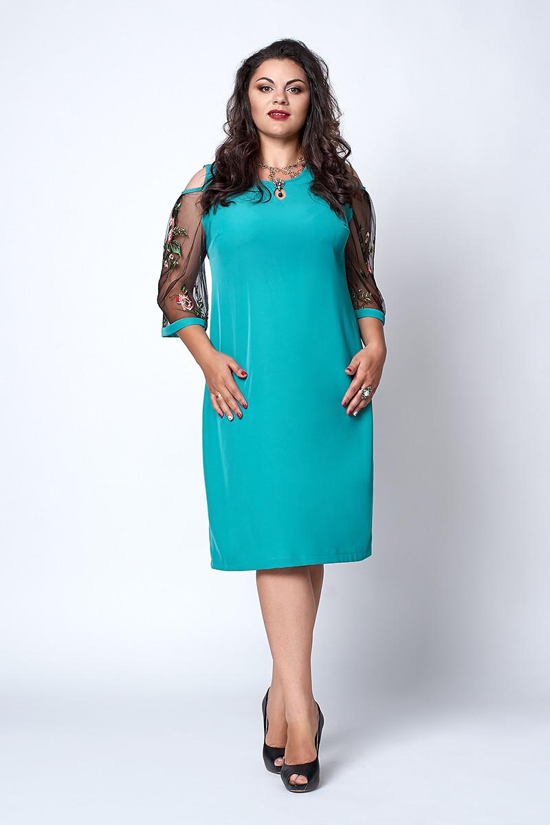 Платье мод №710-1, размер 52 бирюза