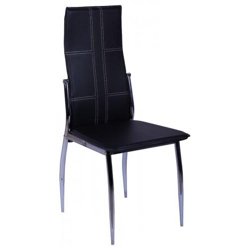 Стул Марлен ROC-01 каркас хром цвет кожзам Чёрный.