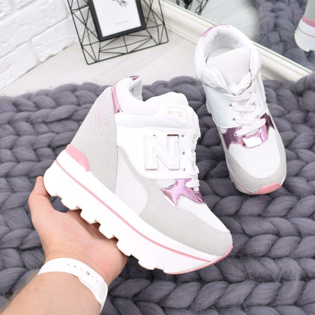 fa9f2ce5b02e Купить Кроссовок женский на платформе N белый с розовым, женскую ...