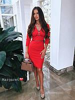 Женское силуэтное платье с декором, в расцветках. БЛ-10-0618