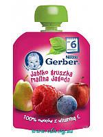 Пюре Gerber  Яблоко, груша, малина, черника (пауч) 90г с 6мес
