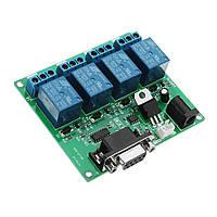 DC 5V 12V 4-канальный RS232 Контроллер коммутационного модуля последовательного реле Контроллер SCM-ПК