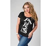 """Женская футболка """"Делайн"""": большие размеры черный, 54-56"""