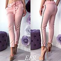 Брюки женскиес лампасами (5 цветов)- Розовый ЕФ/-296