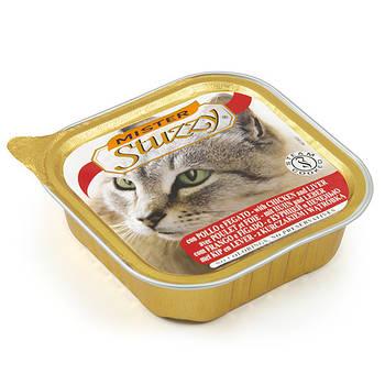 Влажный корм MISTER STUZZY Cat Chicken Liver МИСТЕР ШТУЗИ КУРИЦА ПЕЧЕНЬ для кошек, паштет, 100гх12 шт