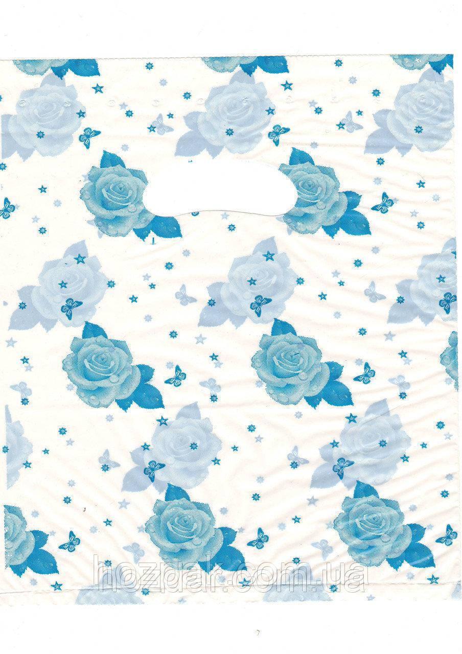 """Пакети поліетиленові типу банан блакитний """"Троянда"""" 25х35 100шт."""