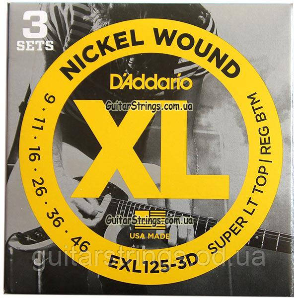 Струны D'Addario EXL125-3D Nickel Wound 9-46 3 sets