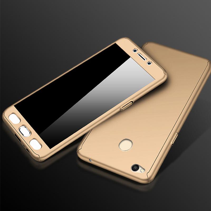 Чехол DualHard 360 для Xiaomi Redmi 4X бампер + стекло в подарок Gold