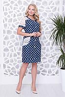 Синее летнее платье больших размеров с гипюром Китана
