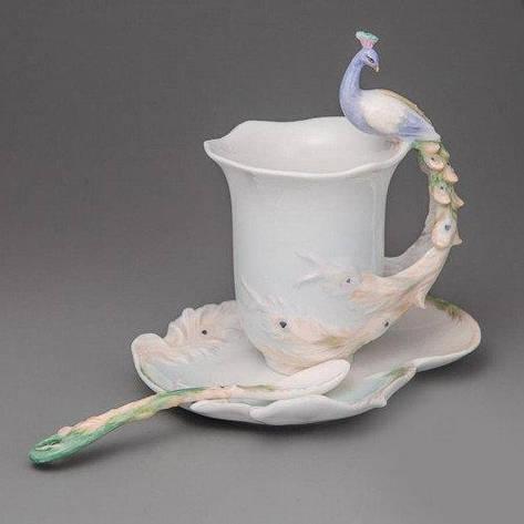 """Чашка с  блюдцем и ложкой """"Павлин"""" (10 см), фото 2"""