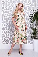 Летнее платье с воланом для полных женщин Пандора лимон