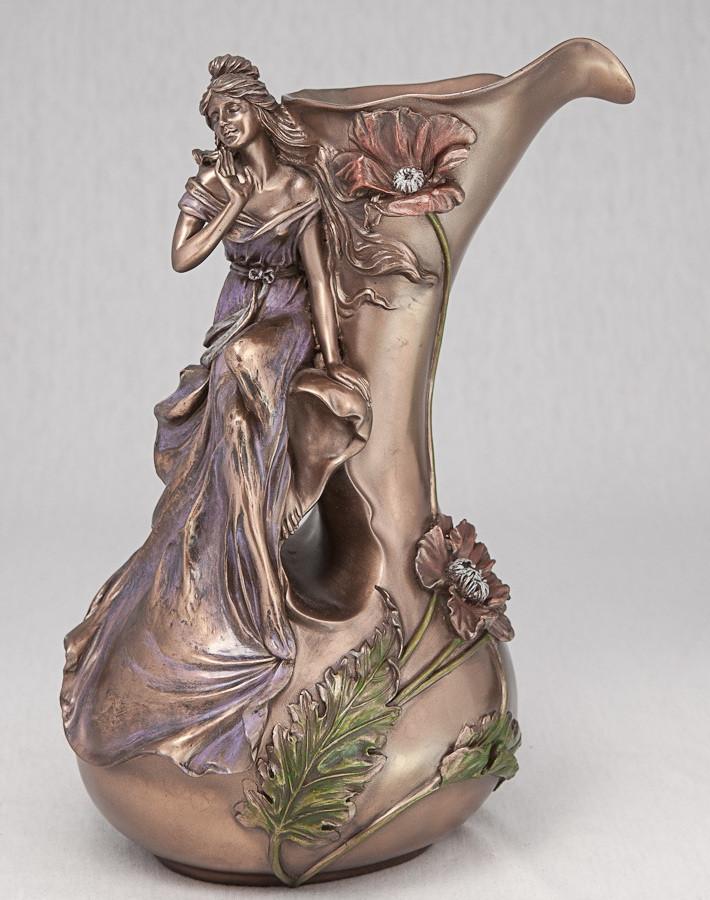 Ваза Девушка в маках (34 см) 10037 V4 Veronese Италия