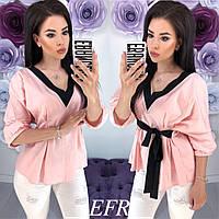 Блузка женская на поясе с завязкой (3 цвета)- Розовый ЕФ/-294