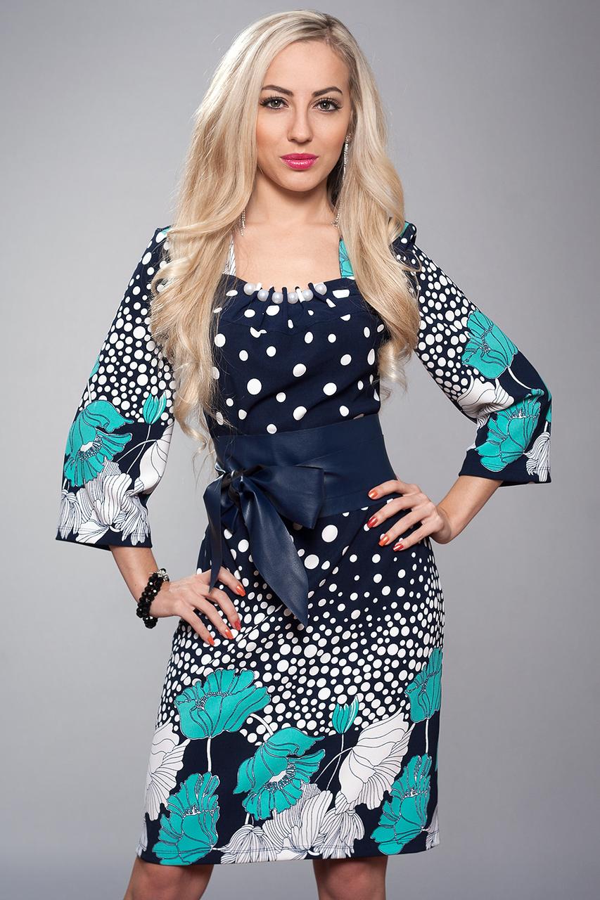 Платье женское мод 618-10,размер 52 бирюза