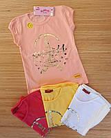 """Детская футболка для девочек """"Париж"""" 1-4 лет .Турция.Оптом (12170)"""
