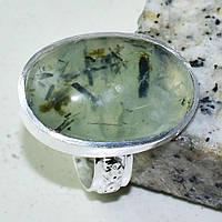Пренит кольцо с натуральным пренитом в серебре 18.5 размер, фото 1