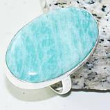 Амазонит овальное кольцо с амазонитом в серебре. Природный амазонит 18,75-19 размер Индия, фото 3