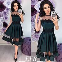Платье женскоес кружевом (4 цвета)- Темно-зеленый ЕФ/-244