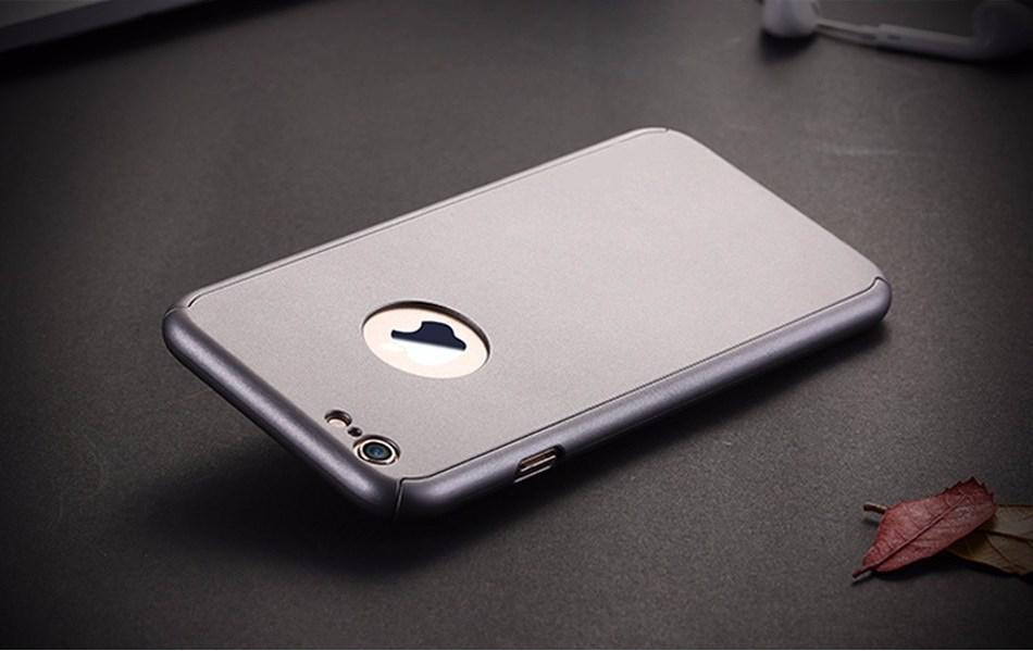 Чехол Dualhard 360 для Iphone 5 / 5s / SE оригинальный Бампер Silver с яблоком + стекло в подарок