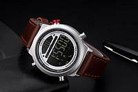Стильные мужские черные smart часы с коричневым  ремешком