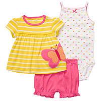 Детский летний комплект для девочки (шорты, туника,  боди)   24 месяца