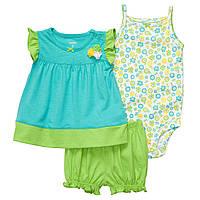 Детский летний комплект (шорты,туника, боди )  12 месяцев