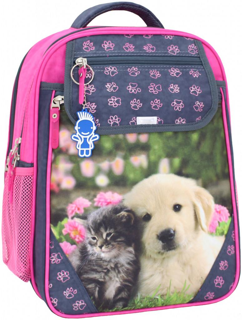 c41e324153ef Школьный ортопедический рюкзак Bagland лабрадор с котенком для девочки серый