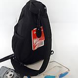 Однолямочный рюкзак 10 л One polar W1292 спортивный городской черно-синий, фото 4